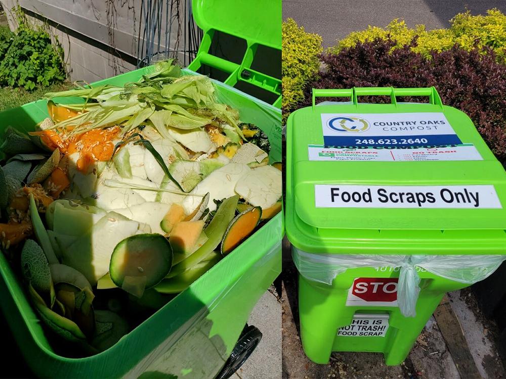 cardboard and food scrap recycling bins behind a restaurant in Fenton, MI